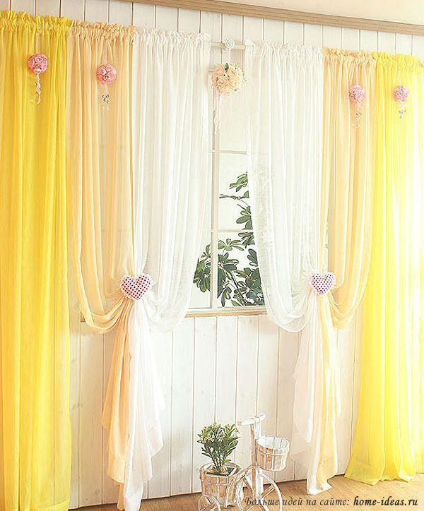 Желтые занавески — хороший вариант для создания весеннего настроения