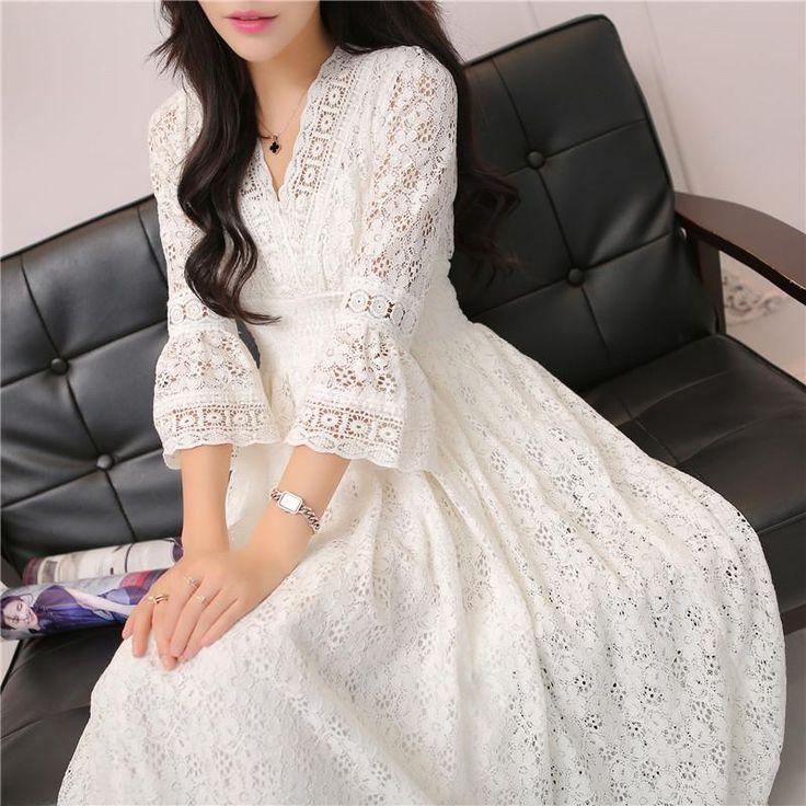 Spring Women Casual Vintage Long Elegant Dress Maxi Ankle Length Party Festival Prom Gown Female Vestidos Lace Hippie Dress Z113