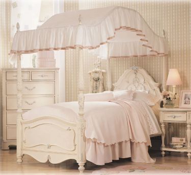 Canopy Bed - mine was full size and had pastel rainbow colored everything: bedspread, canopy, bed curtains AND window curtains :-D
