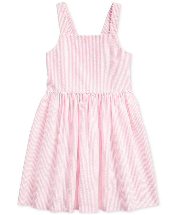 polo ralph lauren toddler girls cotton seersucker dress pink multi