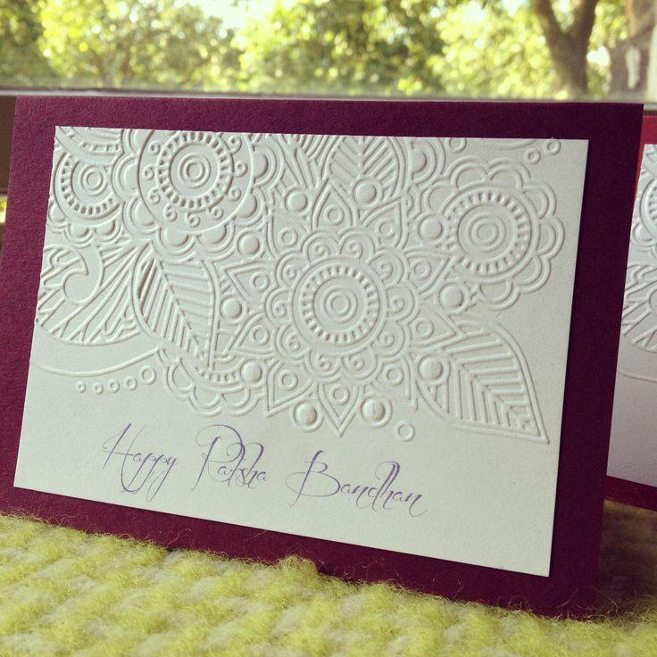 Embossed Raksha Bandhan cards Available at www.facebook.com/RatanjiRani