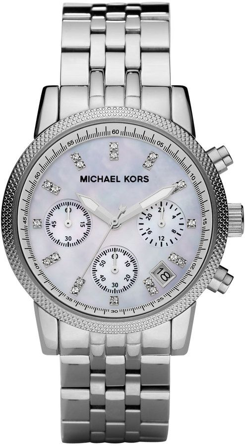$250, Silver Watch: Michael Kors Michl Kors Mid Size Silver Color Stainless Steel Ritz Chronograph Glitz Watch. Sold by Neiman Marcus.
