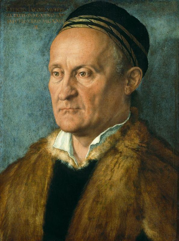 "Albrecht Dürer, ""Portrait of Jakob Muffel,"" 1526. Oil on canvas,"