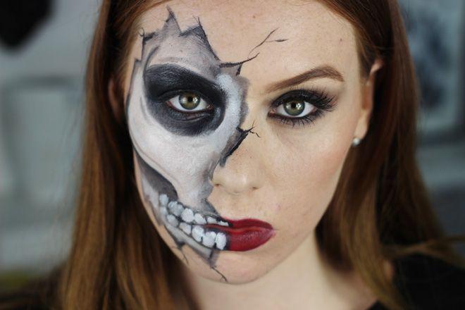 Boohoo Skeleton Midi Dress, Cracked Skull Halloween Tutorial