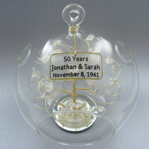 Crystal Wedding Anniversary Gift: Personalized Ornament Any Anniversary Gift Idea With