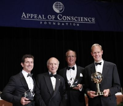 Rabbi Arthur Schneier, (second from left) president and founder of The Appeal of Conscience Foundation, presents the 2015 Appeal of Conscience Awards to Laurence D. Fink, (second from right) Chairman and Chief Executive Officer of BlackRock and ...