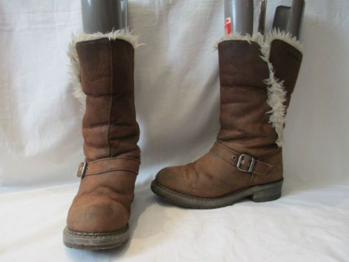 CATERPILLAR-BROWN-SUEDE-BIKER-STYLE-PULL-ON-BOOTS-UK-6-753