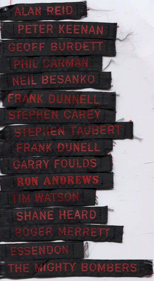 AFL Essendon Football Club Duffle Coat Name Tags | eBay