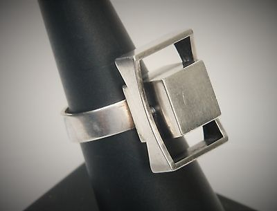 Kupittaan Kulta Finland Modernist Sterling Silver Square Rectangle Ring Sz 7.5