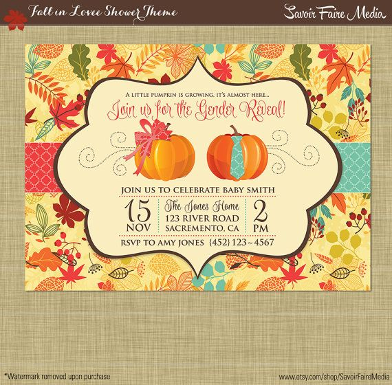 Fall Gender Reveal Invitation // Pumpkin Patch Autumn Theme Gender Reveal Party Printables // Boy or Girl Theme // Leaves Fall Autum Theme by SavoirFaireMedia
