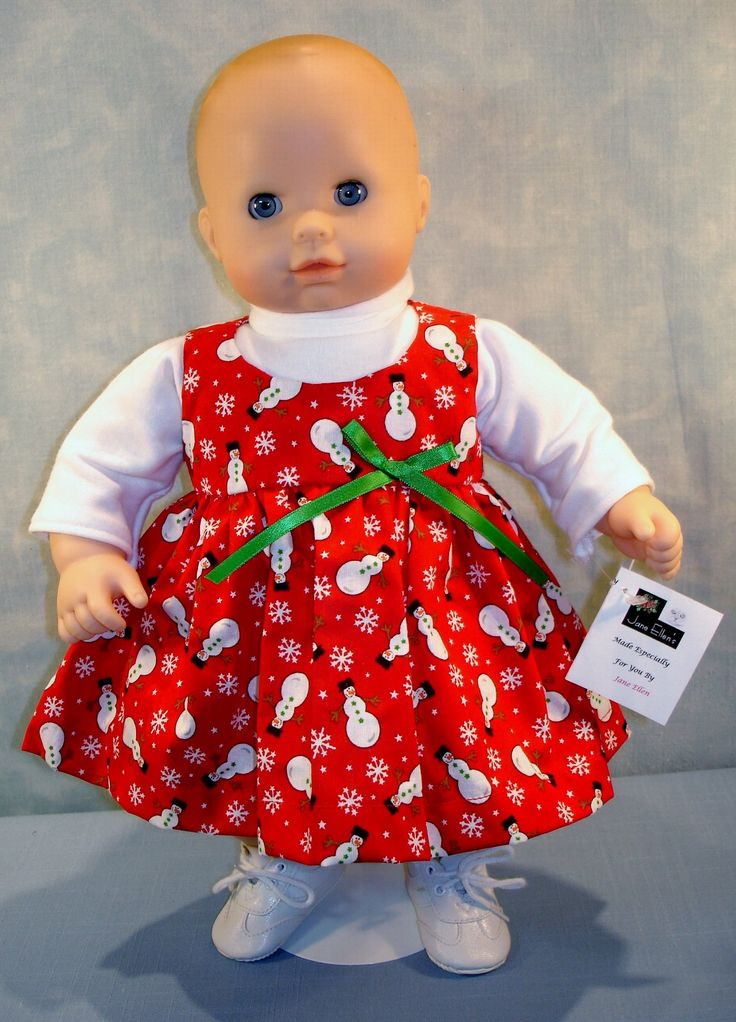 15 Inch Doll Clothes - Snowmen on Red Jumper Outfit handmade by Jane Ellen to fit 15 inch baby dolls by JaneEllen2 on Etsy