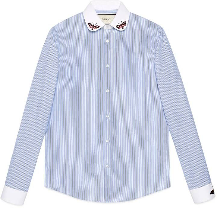 Striped cotton Duke shirt with embroideries  #Gucci #shirt #ShopStyle #MyShopStyle click link to see more of shirt collection