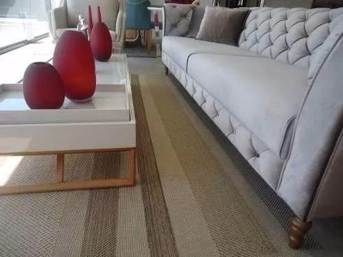 tapete sala quarto listras sisal fibra sintética 60 x 90 cm