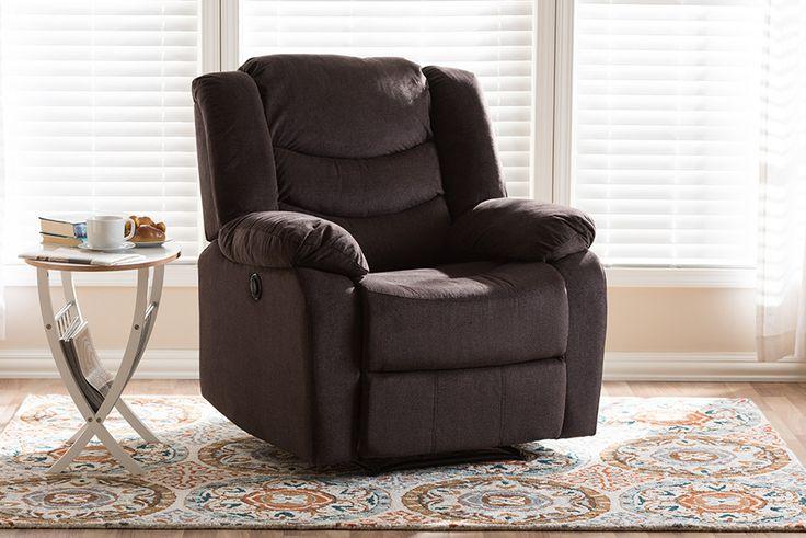 Baxton Studio Lynette Godiva Brown Fabric Power Recliner Chair