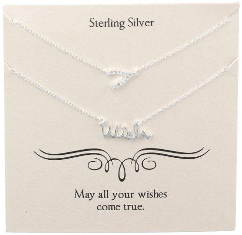 Sterling Silver Crystal Wishbone and 'Wish' Necklaces, 16' 2' Extender ** Find out more about the great product at the image link. (This is an Amazon Affiliate link and I receive a commission for the sales)