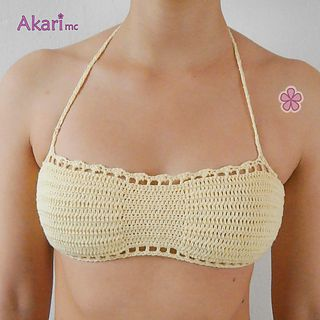 Scalloped bandeau bikini top Crochet Pattern. Bikini bra PDF crochet pattern.