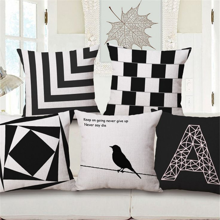 Black And White Bird Nordic Plaid Geometric Decorative Sofa Throw Pillow Case Bedroom Office Chair Cushion Cover Home Decor e44