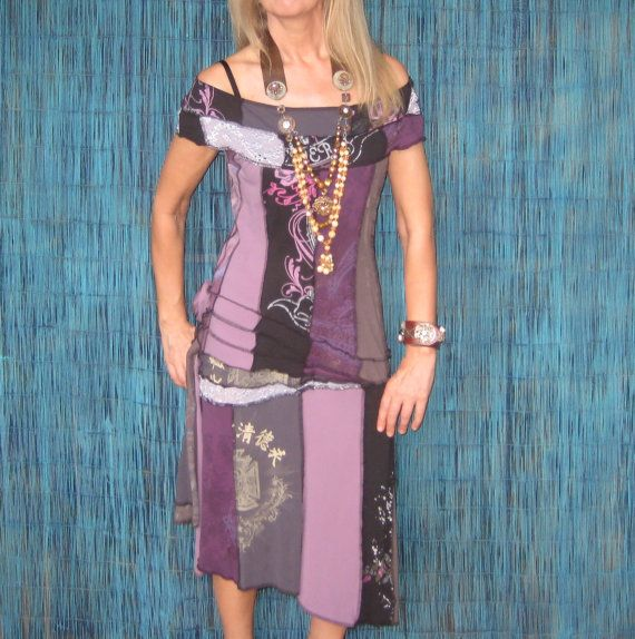 T-shirt Dress, Off the Shoulder, Upcycled, Lavender/Purple, Piecework, size Small about 6. $75.00, via Etsy.