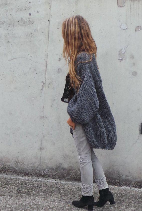 womens Grey chunky Oversized knit sweater with puff by ileaiye
