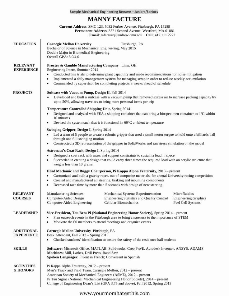 Sample Resume for Freshers Inspirational 10 Fresher Resume