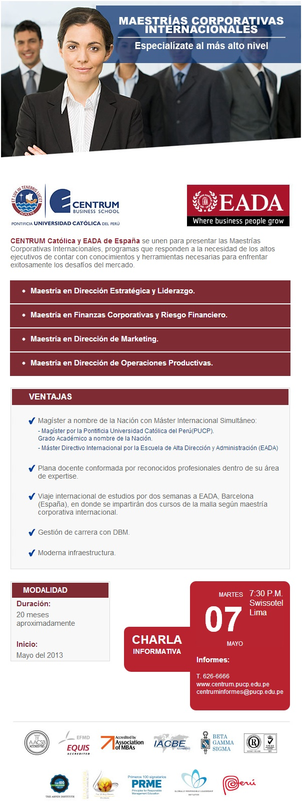 Maestrías Corporativas  CENTRUM Católica   Invitación Charla Maestrías Corporativas