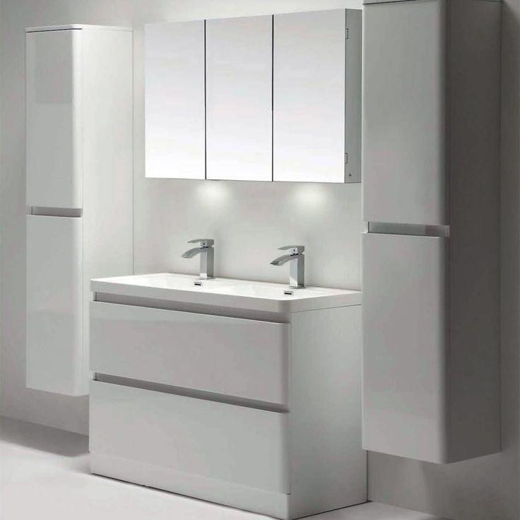 Zen 1200mm Gloss White Floor Standing Double Basin Vanity Unit