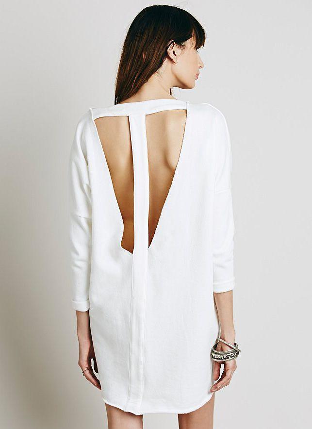 White Long Sleeve Backless Dress 19.99