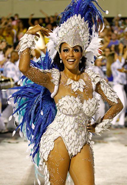 Rio de Janeiro Carnival 2012 : Drum queen Sheron Menezzes dances with the Portela samba school