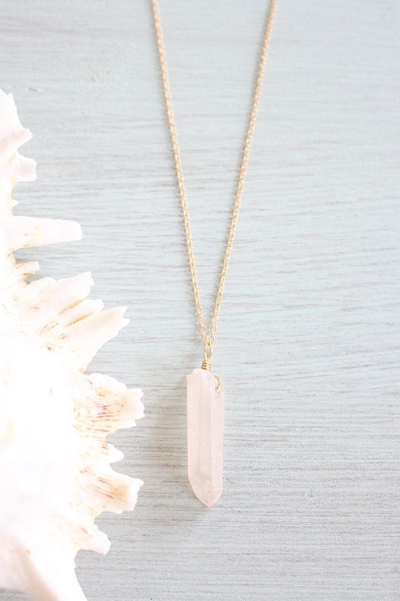 Rose Quartz Necklace  Raw Rose Quartz Spike by MoonTideJewellery