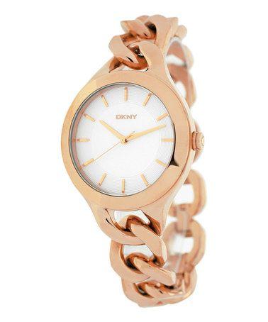 Rose Gold & White Chain Bracelet Watch by DKNY #zulily #zulilyfinds