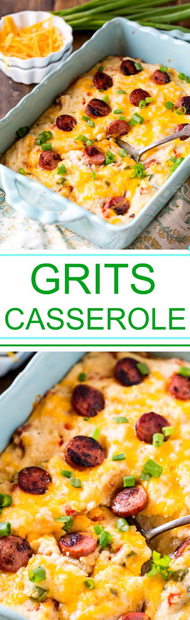 Cheesy Grits Casserole with smoked sausage.(Rotel Cheese Grits)