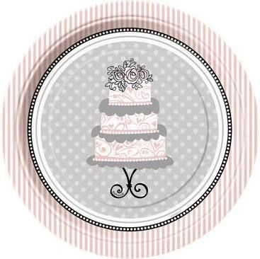 Elegant Wedding Small Paper Party Plates Pack Of 8