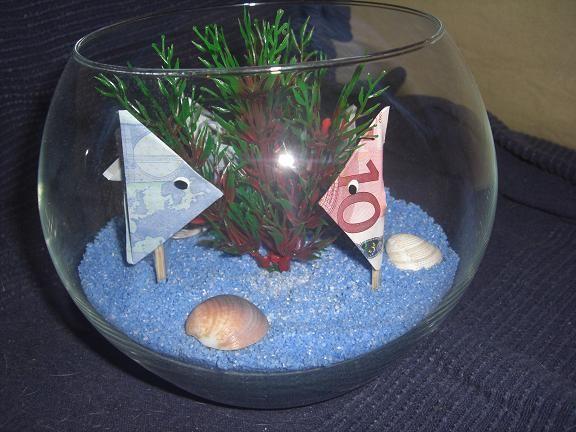 Die Bastel-Elfe, das Bastelportal mit Ideen und einem Bastelforum. - Kleines Aquarium mit Geldscheinfischen