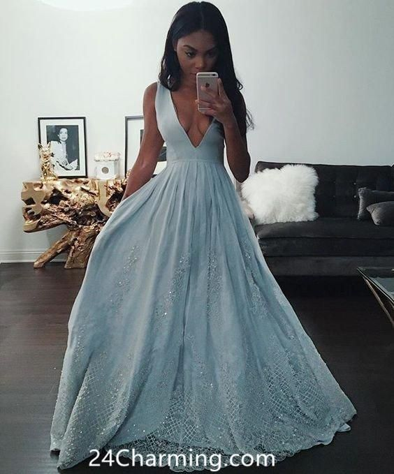 Awesome Deep V Blue Prom Dress Lace Pageant Dresses Lace Bottom