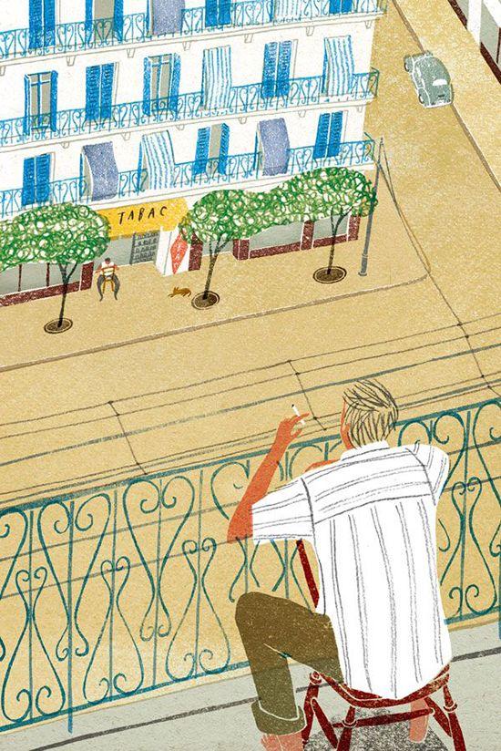 "Illustrator Masako Kubo.  Reminds me a a scene from Albert Camus's ""The Stranger"""