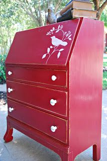 Homebodies At Heart: Old desk redo painted red with a little bird....I love red...