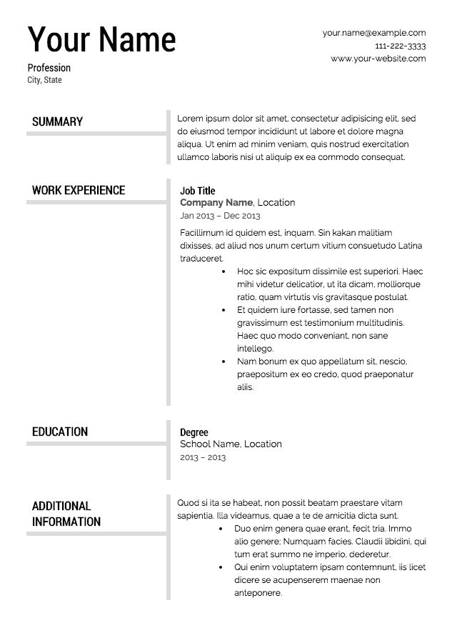 Best 25+ Sample resume templates ideas on Pinterest Sample - bartending resume template