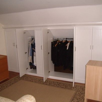 Wall Closet Designs how to create a walkin closet wo a designated spot Attic Bedrooms With Slanted Ceilings 53 Sloped Ceiling Boston Storage Closets Design Photos