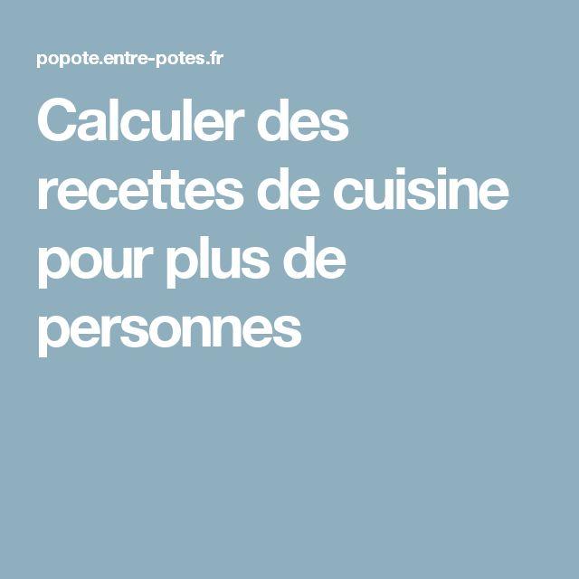 Calculer des recettes de cuisine pour plus de personnes