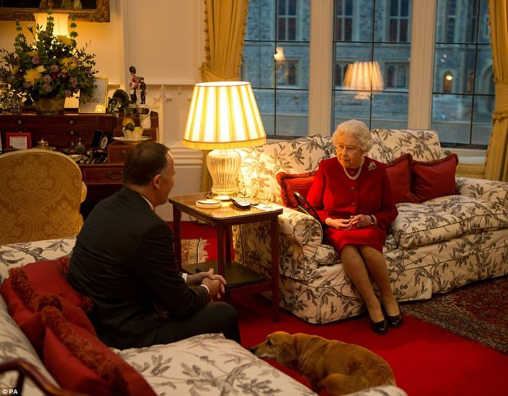 Queen Elizabeth II was greeting the Prime Minister of New Zealand John Key at an audience held at Windsor Castle