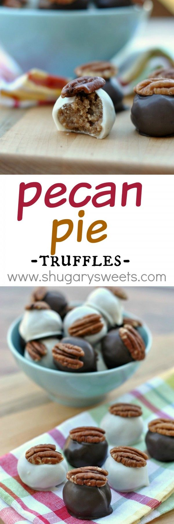 Pecan Pie Truffles: delicious bites of pecan pie in a chocolate truffle coating!