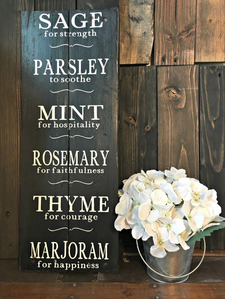 Herb Sign - Herb Meanings - Kitchen Sign - Farmhouse Decor - Shabby Chic Decor , Parsley - Sage - Rosemary - Thyme - Housewarming Gift by BoardsAndBurlapDecor on Etsy https://www.etsy.com/listing/287644235/herb-sign-herb-meanings-kitchen-sign