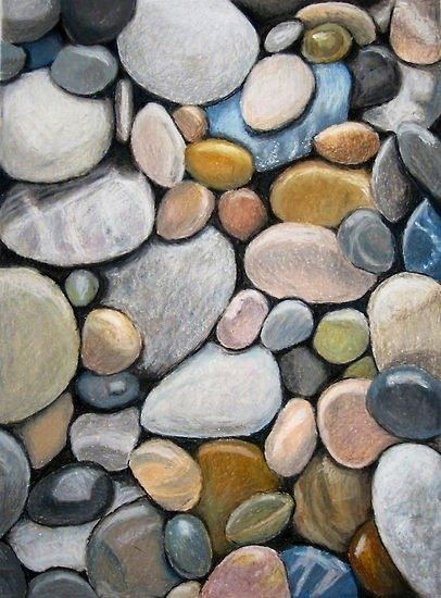 """Oil Pastel Stones"" this is a great lesson for discussions about observational…"