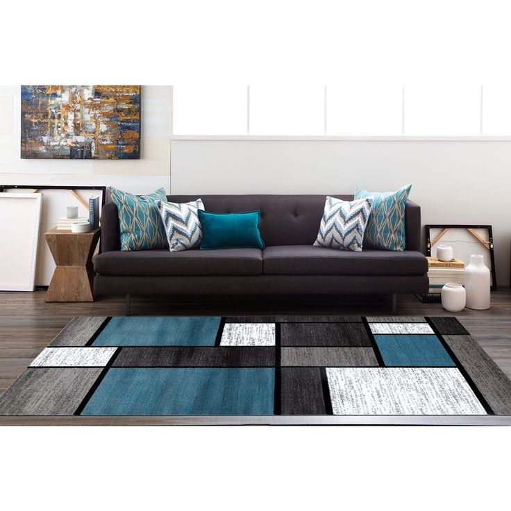 blue living room rug contemporary modern boxes blue grey area rug 7 10 x 10 2 13746