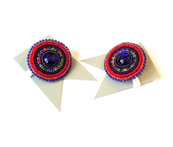 #Flower #hairrubberband #Elasticbeaded #flowerties #HairAccessories #redblue #Beadedembroidery #Hairclip #scrunchy by Reginao on Etsy https://www.etsy.com/il-en/listing/585843294/flower-hair-rubber-band-elastic-beaded