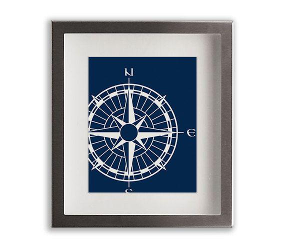 Nautical Compass Art Print - home decor, nautical wall art, dorm decor, living room decor, dining room decor, maritime, beach cottage