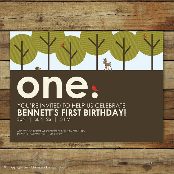 Forest First Birthday Party Invitation - Woodland Forest Party Invitation