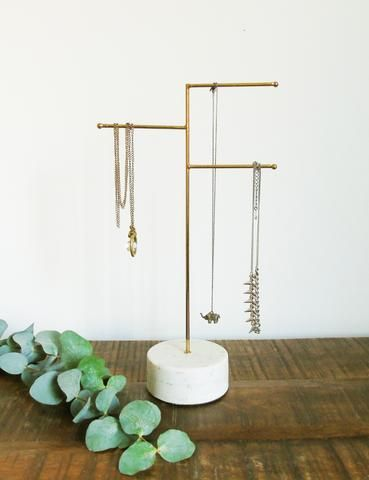 Brass & Marble Jewellery Stand – The Den & Now