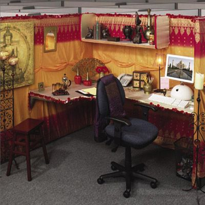 Buddhism And Indian Fabrics Make This A Luscious Looking Office Cubicle Elegant From Feng Shui