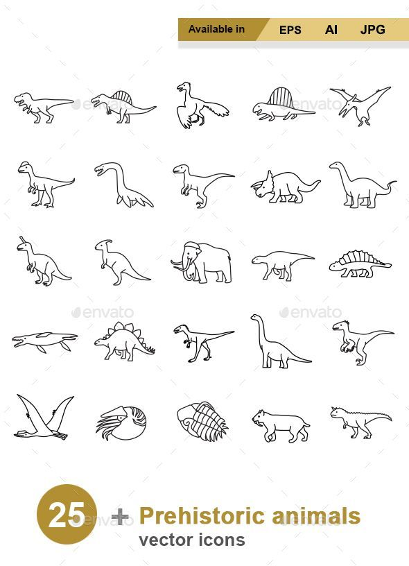 Prehistoric Animals Outlines vector icons — Vect…